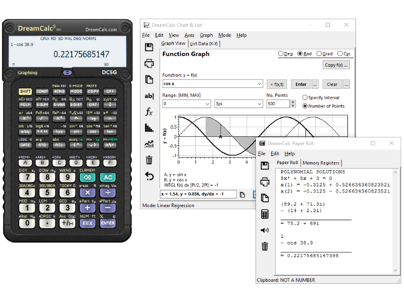DreamCalc DCG Graphing Calculator full screenshot
