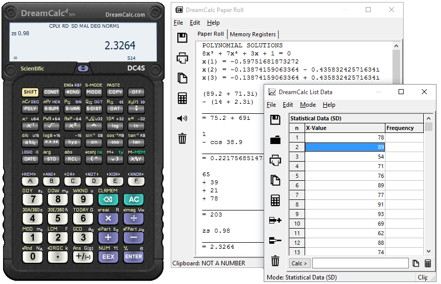 DreamCalc DCS Scientific Calculator Screen shot